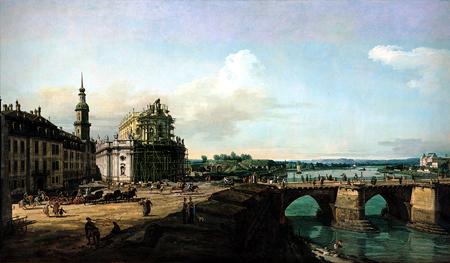 La Hofkirche di Dresda con il castello e il ponte di Augusto (Copyright Pinacoteca Giovanni e Marella Agnelli, Torino)